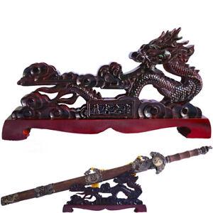 Wood Samurai Sword Katana Wakizashi Stand Sword Holder Rack Dragon Shape Red