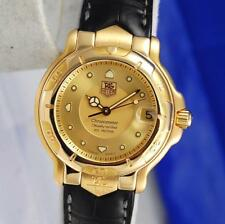 Tag Heuer 6000 Solid 18K Gold Watch - Leather Band - Automatic - Gold Dial WH524