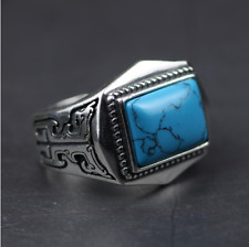 Vintage Genuine 925 Sterling Silver Rings For Men Inlaid Natural Stone Polygon