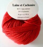 10 pelotes  cachemire et mérinos couleur corail - FABRIQUE EN FRANCE