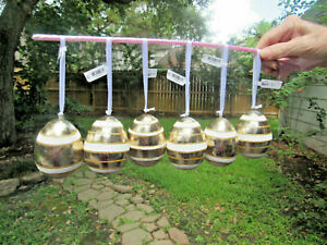 Set Of 6 Pier 1 Gold Glitter Easter Hanging Ornaments New With Tags
