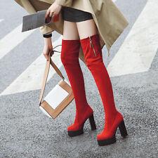 Fashion Women Sexy High Heels Zip Round Toe Platform Over Knee Boots Block Shoes