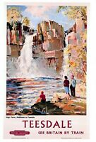 Travel Poster Postcard, High Force TEESDALE, British Rail See Britain by Train