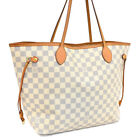 Auth LOUIS VUITTON Damier Azur Neverfull MM N51107 Tote Bag Ivory Canvas AG20041