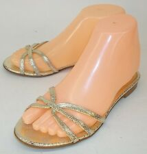 J.Crew Wos US6 Metallic Gold Leather Textured Formal Summer Sandal Wedding Shoes