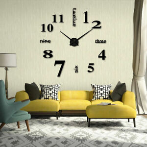 Black DIY Large 3D Numerals Wall Clock Surface Mirror Sticker Home Office Decor