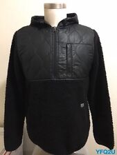 STUSSY x HOLDEN SMALL DESTROYER QUILTED BLACK DEEP PILE FLEECE HOODED JACKET