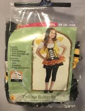 GIRLS YELLOW BUTTERFLY HALLOWEEN COSTUME - SIZE 8 - 10