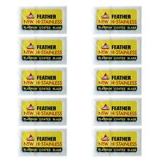 50 x Feather Razor Shaving Blades HI-STAINLESS Double Edge Platinum Coated JAPAN