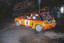 Jean Ragnotti foto firmada de mano 12x8 Renault Rally 6.