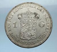 1923 Netherlands Kingdom Queen WILHELMINA 1 Gulden Authentic Silver Coin i68333