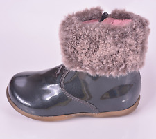 Bo-bell Girls Tundra Grey Patent Leather Zip Boots UK 5.5 EU 22 US 6