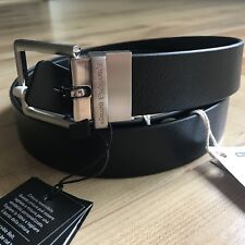 A/X Armani Exchange Reversible Perforated Logo Plaque Leather Belt