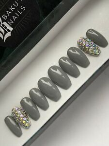 Hand Painted False Press On Nails Short / Med Coffin Grey And Diamond Finger