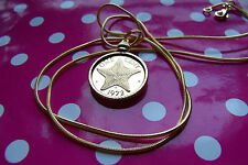 """1972 Bahamas Starfish Mint proof coin pendant on a 24"""" Gold Filled Snake Chain"""