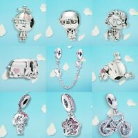 925 Sterling Silver Pigtails Girl Propeller Hat Boy Dangle Charm Bead F Bracelet