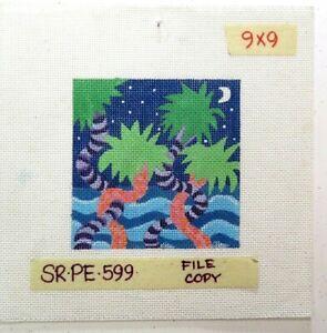 Susan Roberts Dancing Ocean Palms Handpainted Needlepoint Canvas