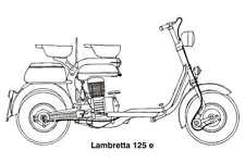 LAMBRETTA 125e VINTAGE MOTORCYCLE SCOOTER ART DRAWING POSTER PRINT 24x36