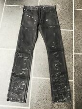 "Dior Homme SS04 ""Strip"" Destroyed Black Waxed Jeans Designed By Hedi Slimane W32"