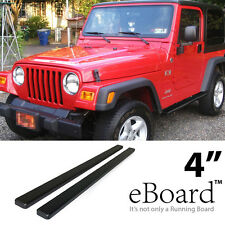 """eBoard Running Boards Combo Black 4"""" For 87-06 Jeep Wrangler"""