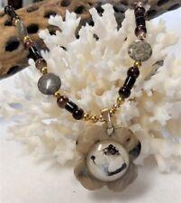 Cameo Dog Necklace Schnauzer Pendant Semi Precious Fossil Coral Beads Ooak