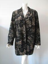 MARISA CHRISTINA WOMAN Black Tan Velvet Equestrian Horse Long Jacket Coat 18