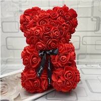 ROSE BEAR FLOWER TEDDY GIFT 9 INCH ARTIFICIAL ROSE MOTHERS DAY BIRTHDAY GIFTS