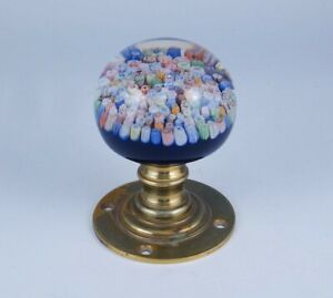 Antique 19c Millefiori Art Glass Bronze Paperweight Newel Post Finial