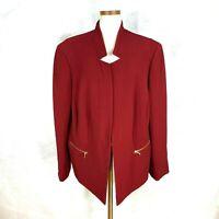 `Tahari ASL Womens Cranberry Ribbed Polyester Blend Blazer Jacket 22W