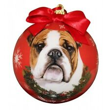 Bulldog Christmas Ornament Dog Shatter Proof Ball Snowflakes Red Wreath New