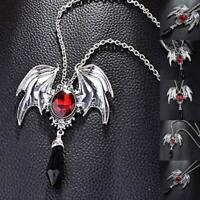Pendant Necklace Bat Wings Shape Inlays Gemstone Choker Jewelry G5H3