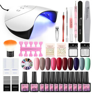 UV LED Gel Nail Starter Kit Nail Gel Polish Manicure Lamp Dryer Art Tools Colour