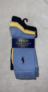NWT-Big Boys RALPH LAUREN 3-pack Dress Socks SZ: 9-11 Blue, Yellow Navy