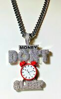 Mens Iced 8mm Miami Cuban Chain Money Don't Sleep Clock Silver Ice out Pendant