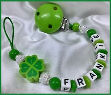 🍀 PERSONALISED DUMMY CLIPS 🍀 ST PATRICKS  SHAMROCK 🍀 7 Letters 🍀 GREEN 🍀