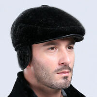 New Mens Genuine Fur Winter Warm Cap Hat Headgear Beanie Cabbie Earmuffs Black