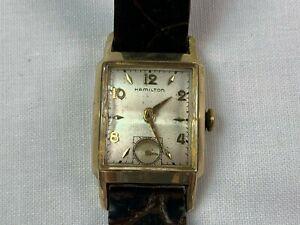 Vtg Estate Gent's Hamilton Gold Filled Tank Wrist Watch Running Cond