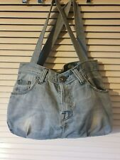 RIVER ISLAND Blue Denim Jeans Look Shoulder Beach Casual Tote Bag