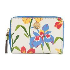 0754a10c1fe Tory Burch Robinson Floral Leather Zip Around Card Coin Case Mini Key Wallet  NWT