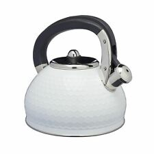 Lovello Stove Top Kettle with Geometric Textured Finish - Ice White