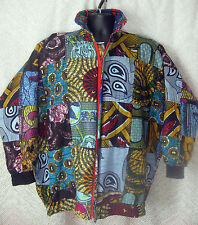Womens XL Quilted Jacket Black Reversible  Africa Continent Psalm 23 Colorful