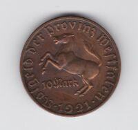 1921 German 10 Mark Notgeld Bronze Coin Westfalen Germany horse F-627