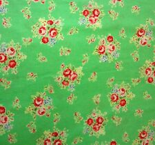 Red Bouquets Roses Green Flower Sugar 2014 Lecien Quilt Fabric by the 1/2 yd