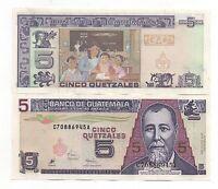 GUATEMALA 5 QUETZALES 1998 PICK 100 UNC