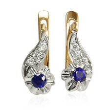 For Children and Adult Diamond & Genuine Sapphire Earrings Russian Jewelry 14k