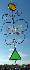 stained glass  butterfly dangle suncatcher  windchime