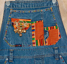 Upcycled hand decorated denim overalls African Fabric and Beading OOAK - Medium