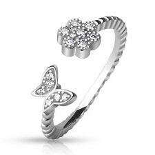 & Butterfly Adjustable Toe Ring .925 Sterling Silver Cz Paved Flower