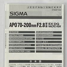 Sigma APO 70-200mm F2.8 II EX DG Macro HSM Camera Lens Owners Manual Instruction