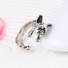 Wrap Adjustable Fashion Dog Finger Ring Pet Antique Vintage Animal Gift Puppy Silver